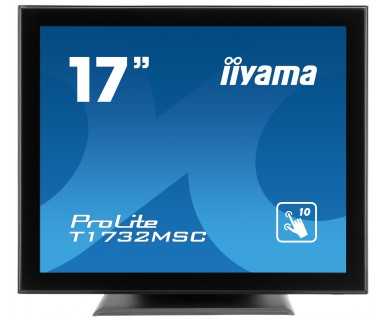 IIYAMA ProLite T1732MSC-B1X 43cm 17Zoll kapazitiv multitouch LED Backlight 1280x1024 5ms 225cd/m  Schutzglas VGA DVI schwarz