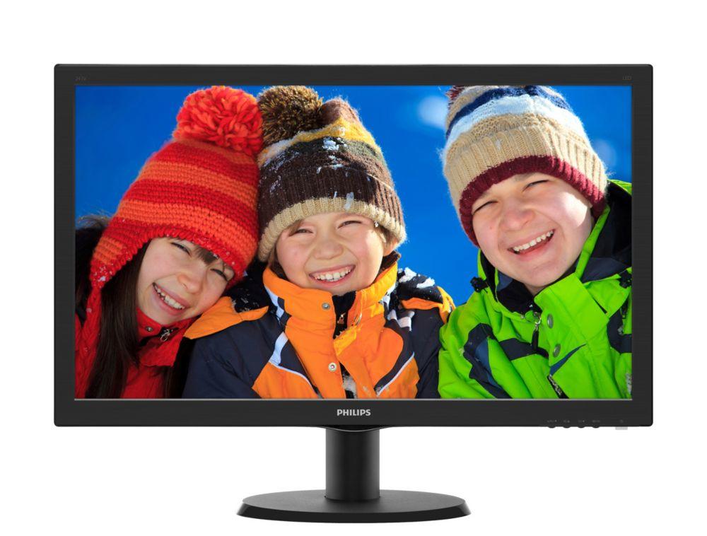 243V5QHAB 23.6i PLS LED. 5 ms. 1920 x 1080. Wid 16/9. DVI & VGA.  250 cd/m*2. S10M:1.  178o/178o. Speakers. VESA. Black