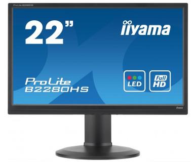 IIYAMA ProLite B2280HS-B1DP 54,7cm 21,5Zoll LED FullHD 5ms VGA DVI HDMI 250 cd/m Lautsprecher hoehenverstellbar Pivot schwarz