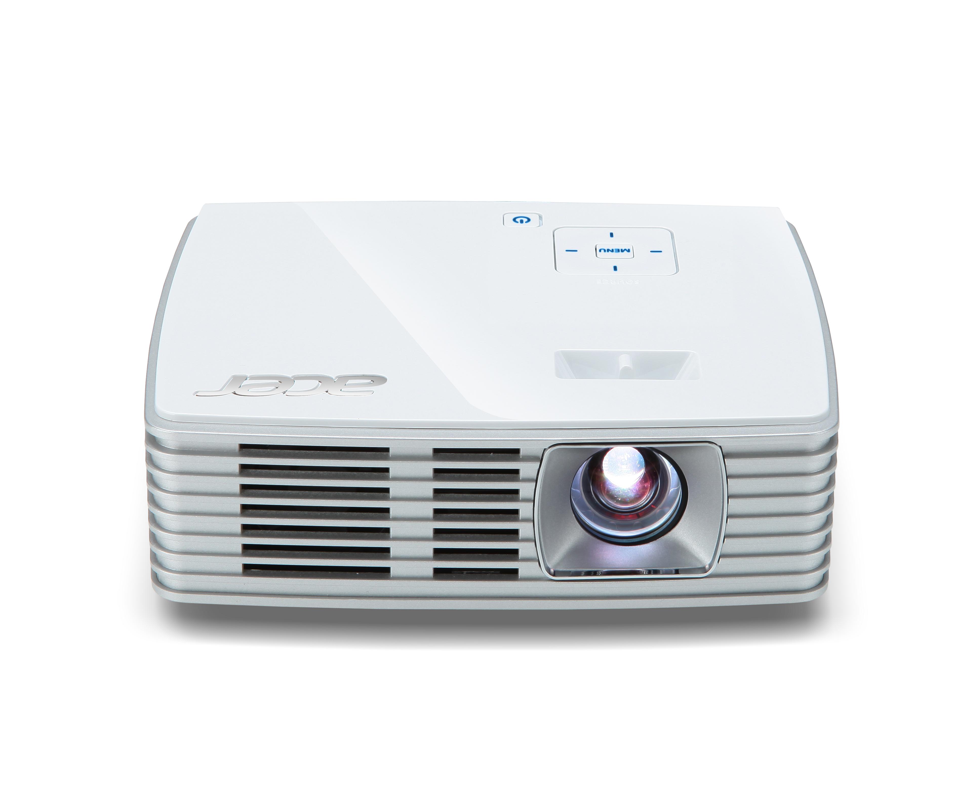 ACER K135i DLP LED Projektor 600ANSI Lumen 3D ready WXGA 1280x800 10000:1 HDMI/MHL 24-pin Universal I/O USB A SD inkl. WLAN Dongle