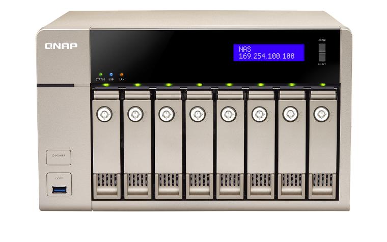 QNAP TVS-863 AMD 8GB NAS Desktop 8Bay AMD 2.4 GHz Quad Core 8GB DDR3L RAM(max 16GB) 5xUSB5.0 2xGb LAN 10Gb Ready HDMI