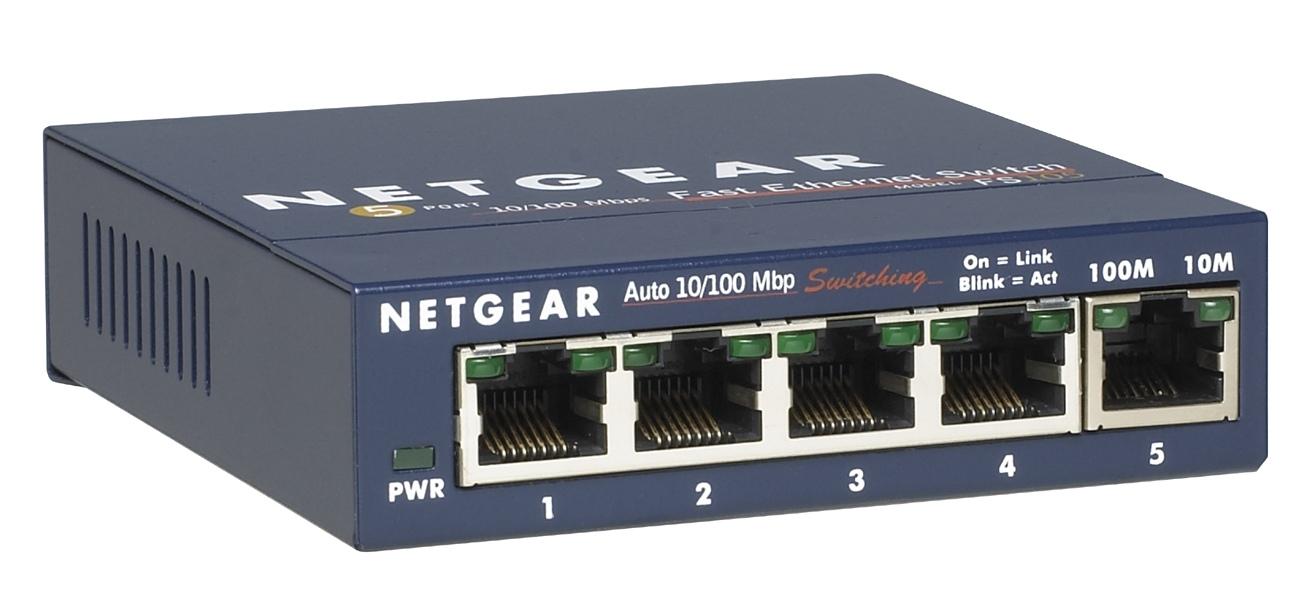 NETGEAR 5-Port Ethernet Switch mit Front-Anschluessen im Metallgehaeuse Desktop luefterlos Externes Netzteil