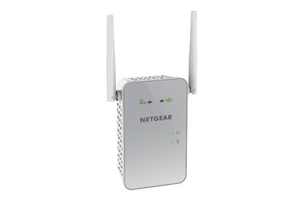 NETGEAR AC1200 WiFi Range Extender 802.11.ac Dualband RJ-45 1200Mbps weiss/silbergrau - fuer die Steckdose