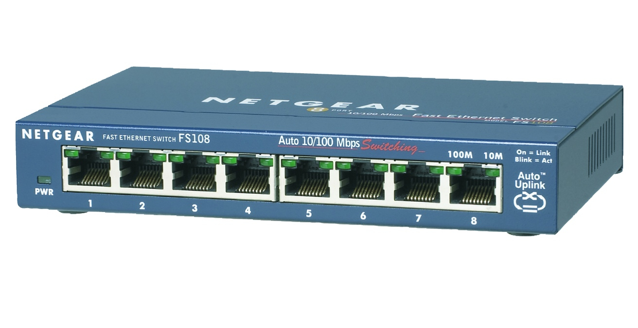 NETGEAR 8-Port Ethernet Switch mit Front-Anschluessen im Metallgehaeuse Desktop, luefterlos, externes Netzteil