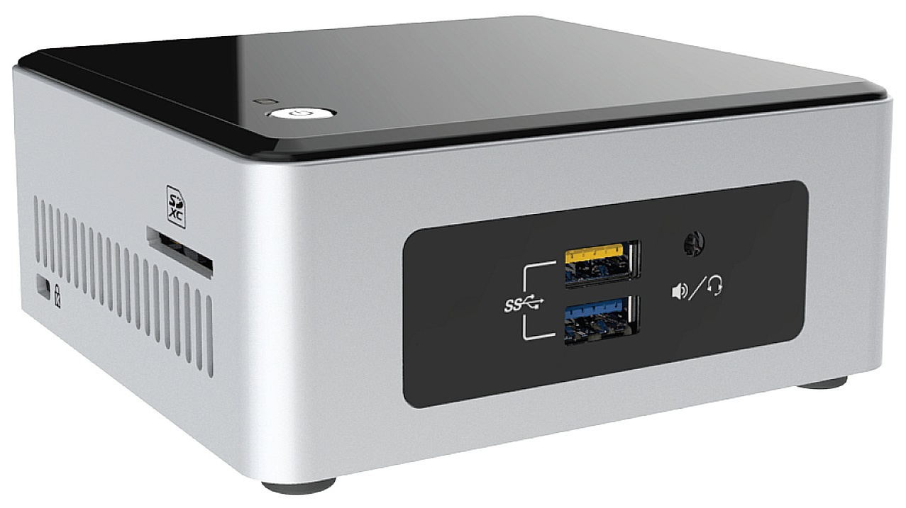 INTEL NUC BOXNUC5CPYH Celeron N3050 DDR3L HDMI 1.4A HDB15 VGA 7.1 Surround via HDMI 4x USB3.0 Sata3 6,35cm 2.5Zoll HDD/SSD 9.5MM