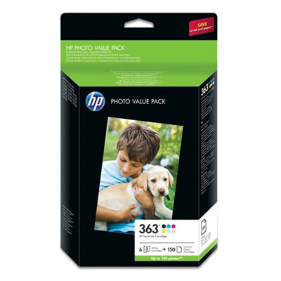 HP 363  glänzend  Foto Papier inkjet 250g/m2 100x150mm 150 Blatt Multipack + ink cartridge colour