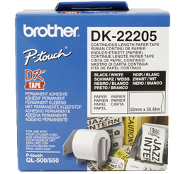 BROTHER P-Touch DK-22205 continue length Papier 62mm x 30.48m