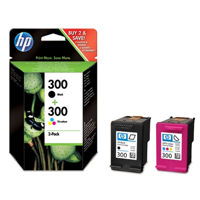 Inktpatroon HP 300 originele zwarte/drie-kleuren inktcartridges, 2-pack