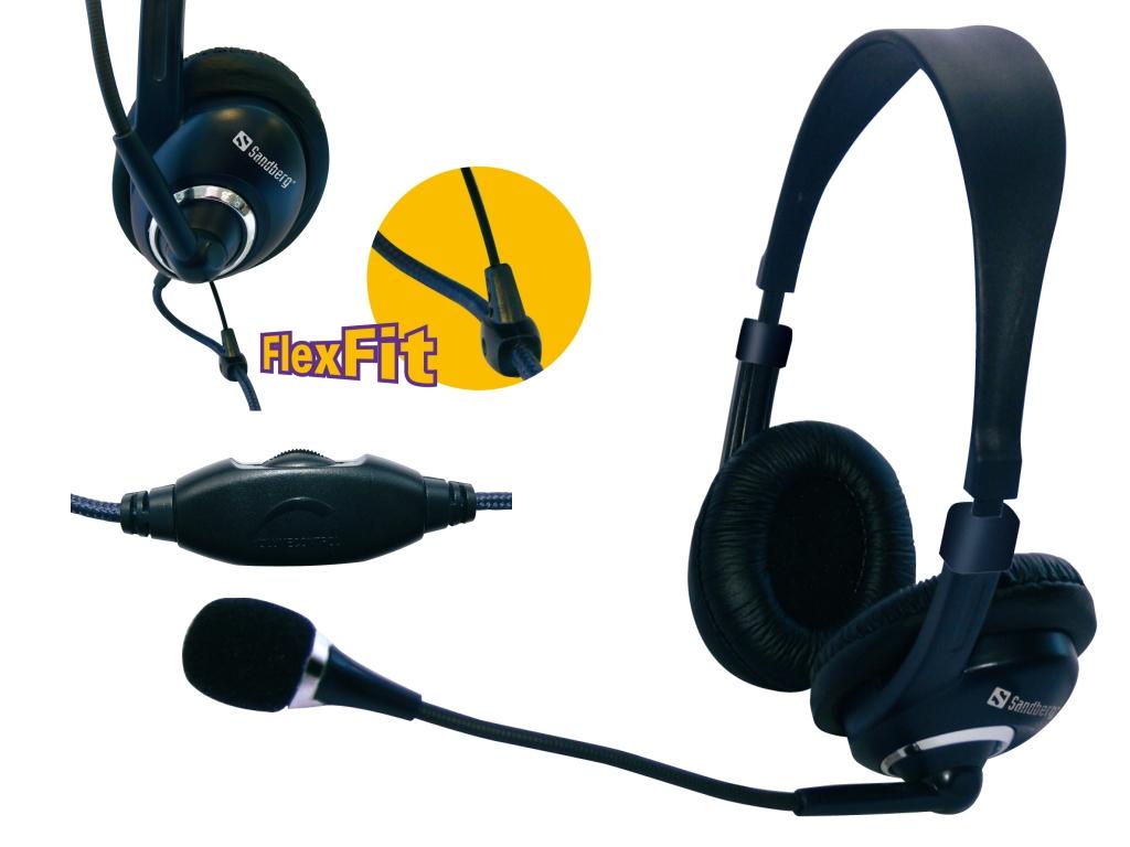 SANDBERG HeadSet One mit Mikrofon und Lautstaerkeregler und Mikrofonschalter Kabel 1.5m 59 Zoll.