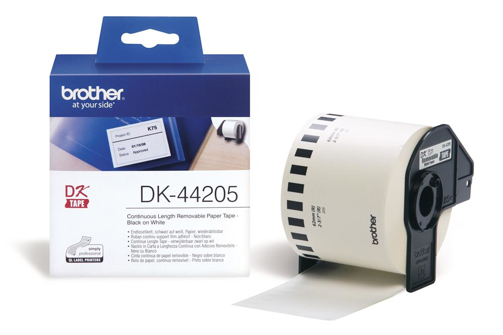 BROTHER P-Touch DK-44205 removable weiss thermal Papier 62mm x 30.48m