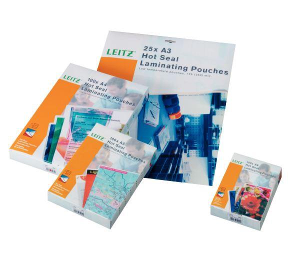 LEITZ Folientaschen A4 125mic 25St Heisslaminierfolien perfekte Versiegelung garantiert Schutz vor Schmutz und Feuchtigkeit