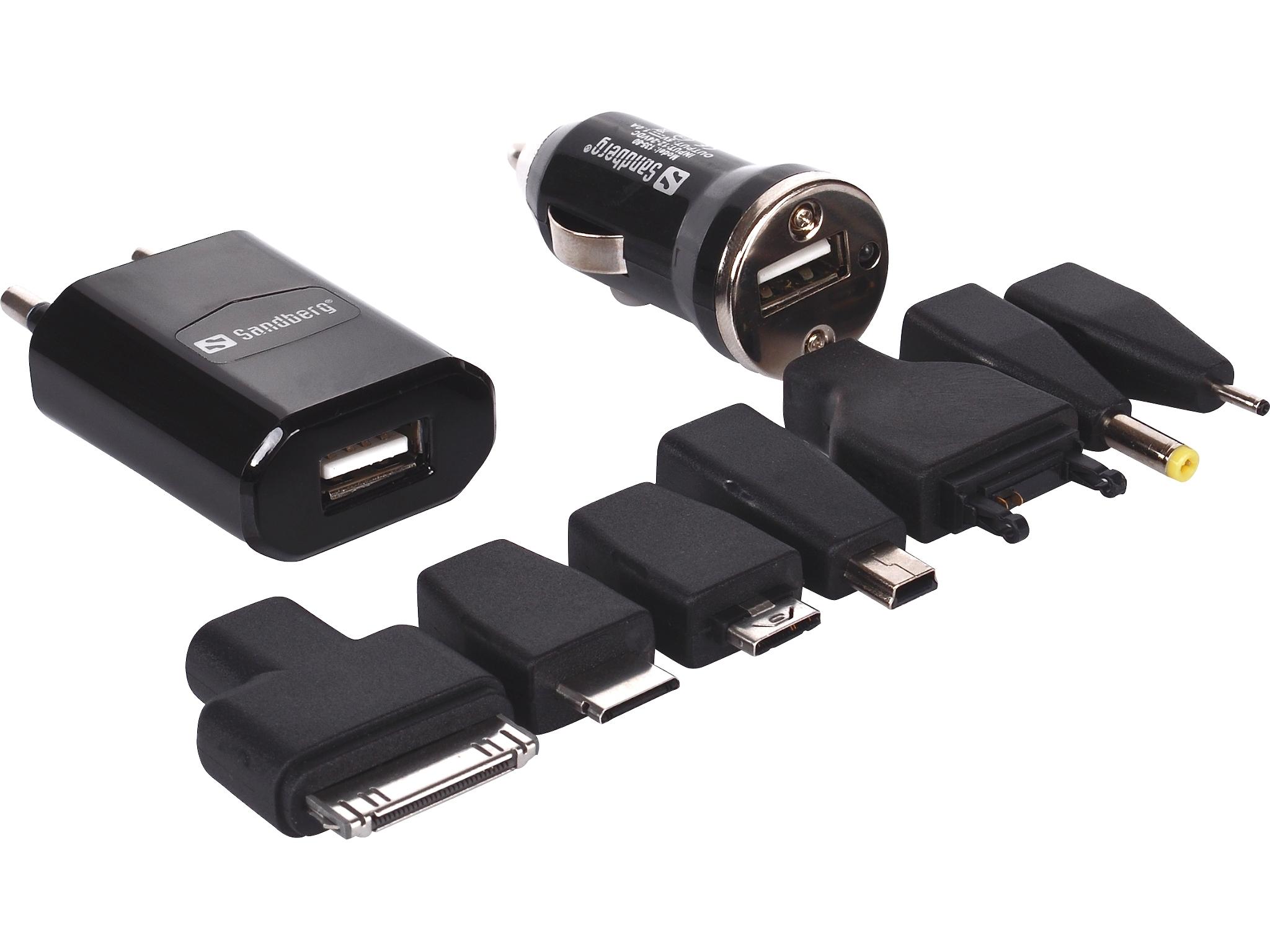 SANDBERG Mobile Phone Multi Charger 230V 12V 24V und USB iPhone iPod Sony Ericsson LG Samsung Nokia Micro USB Mini USB
