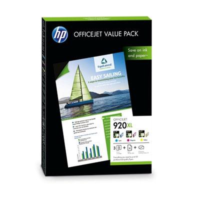 HP 920XL Officejet Value Pack 180g/m2 A4 50 Blatt 1er-Pack + 3 x 920XL cartridges (CMY) und 1 HP Business Marketing Design CD