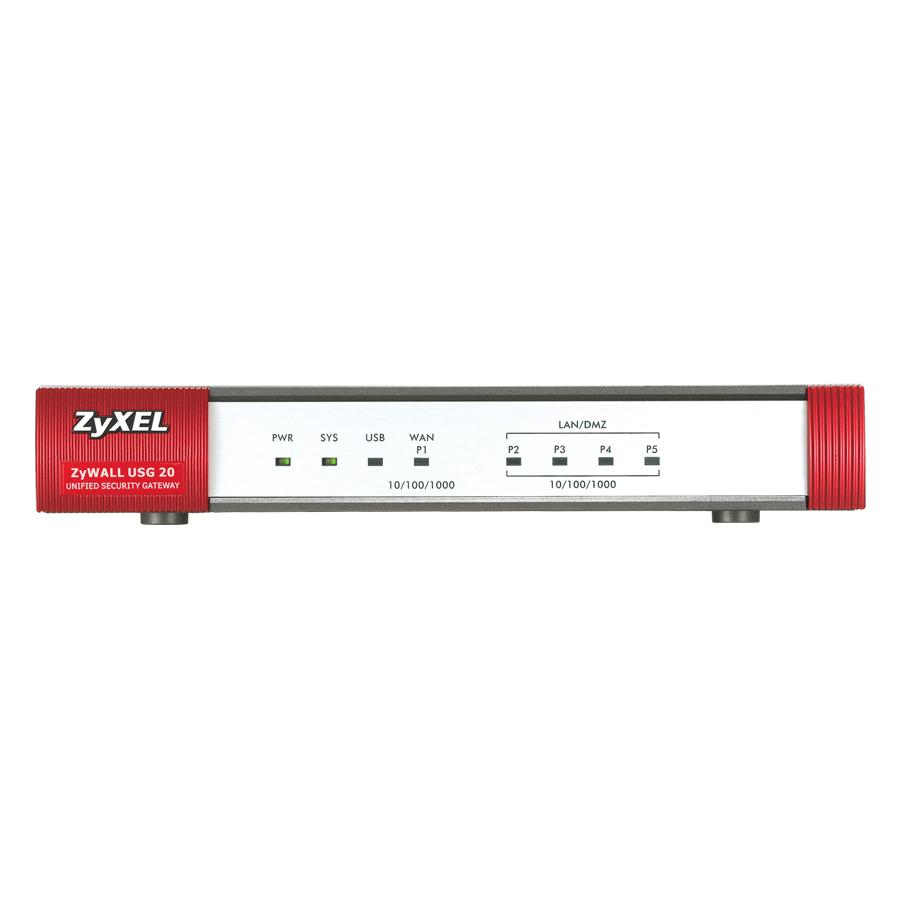 ZYXEL USG 20 Firewall Appliance 10/100/1000, 1 WANs, 4 LAN / DMZ  ports