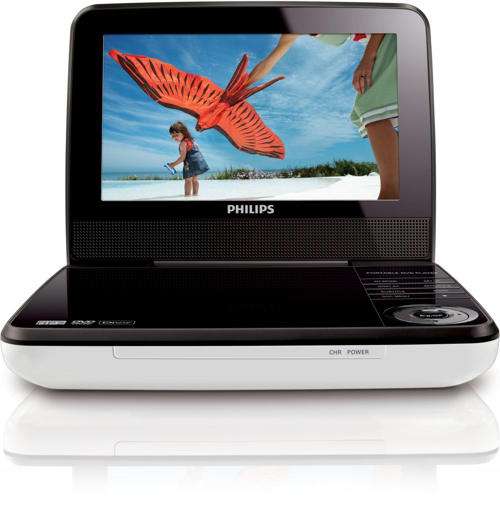 Philips Lettore DVD/BLU-RAY/TV Portatile NERO. Lettore DVD portatile con display LCD TFT da 7/18cm con widescreen 16:9. USB Direct per la riproduzione di musica e foto. Riproduce DivX, MPEG4, DVD, CD immagini, SVCD, CD video, DVD-R/-RW, CD-MP3, CD-R