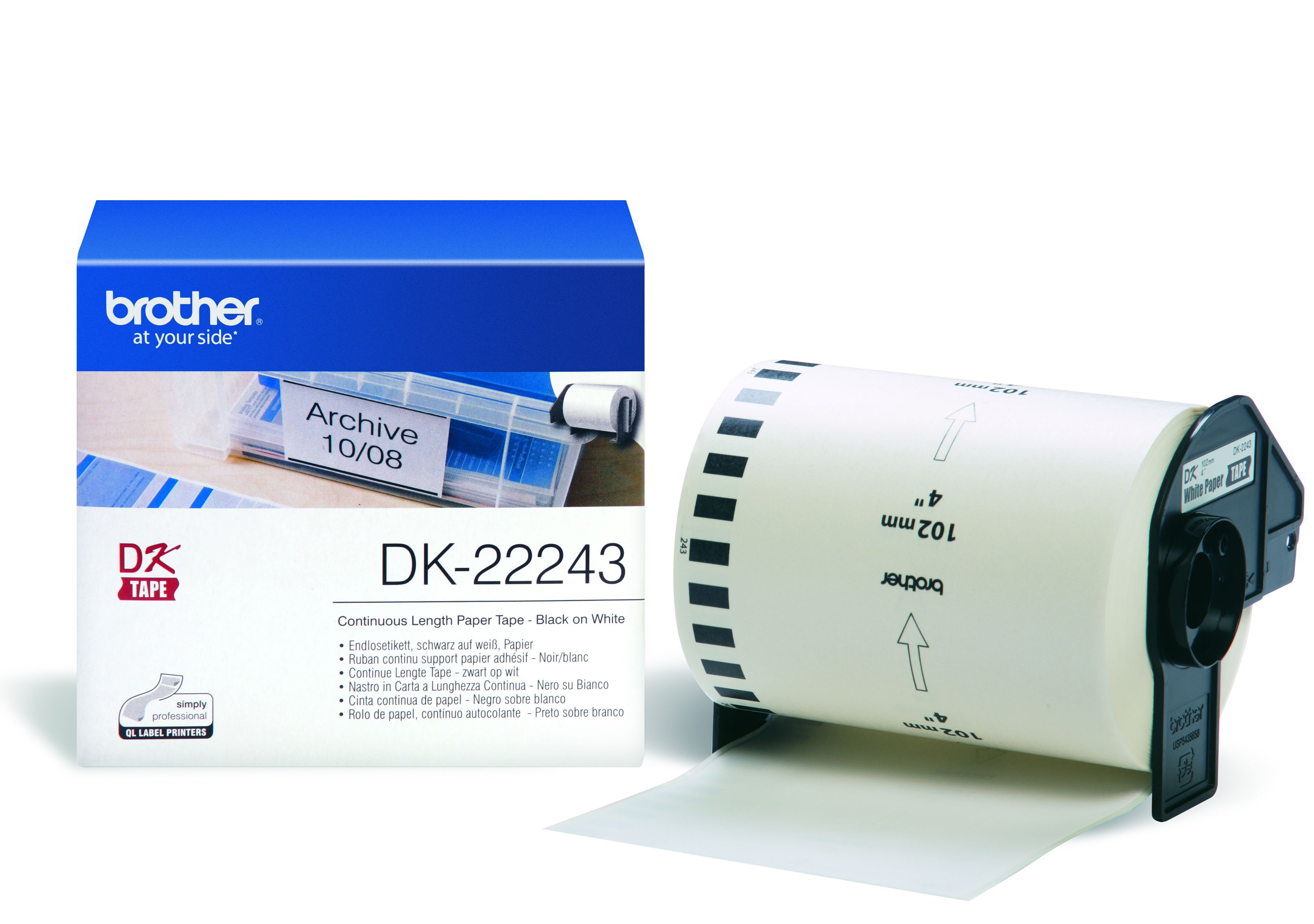 BROTHER P-Touch DK-22243 continue length - Thermisch Papier - weiss 102mm x 30.48m Only for QL-1050(N)/-1060N