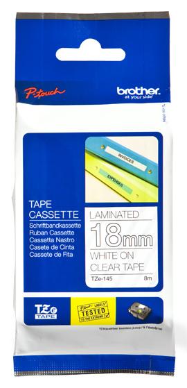 Schriftbandkassette Brother 18mm farblos/weiß      TZe-145