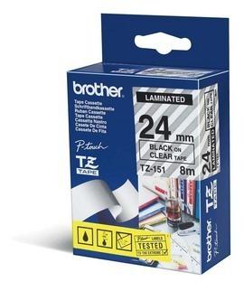 BROTHER P-Touch TZE-151 schwarz auf clear 24mm