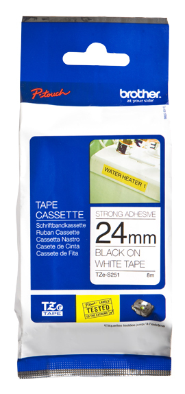 BROTHER P-Touch TZE-S251 schwarz auf weiss 24mm extra gluey