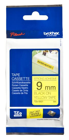 BROTHER P-Touch TZE-S621 schwarz auf gelb 9mm extra gluey