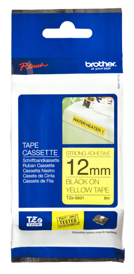BROTHER P-Touch TZE-S631 schwarz auf gelb 12mm extra gluey