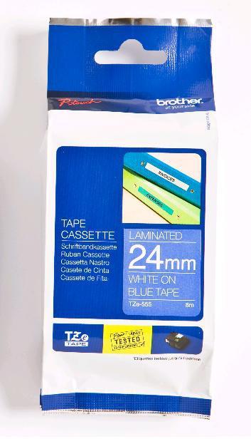 BROTHER TZE555 Schriftbandkassette 24mmx8m blau weiss laminiert fuer P-touch350 540 540C 550 2400 2400E 2420PC 2450 2450DX 2460 2480