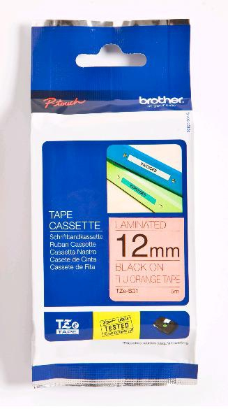 BROTHER TZEb31 Schriftbandkassette 12mm5m signal orange/black P-touch 200 210E 220 300 310 2500PC 9500PC RL700S