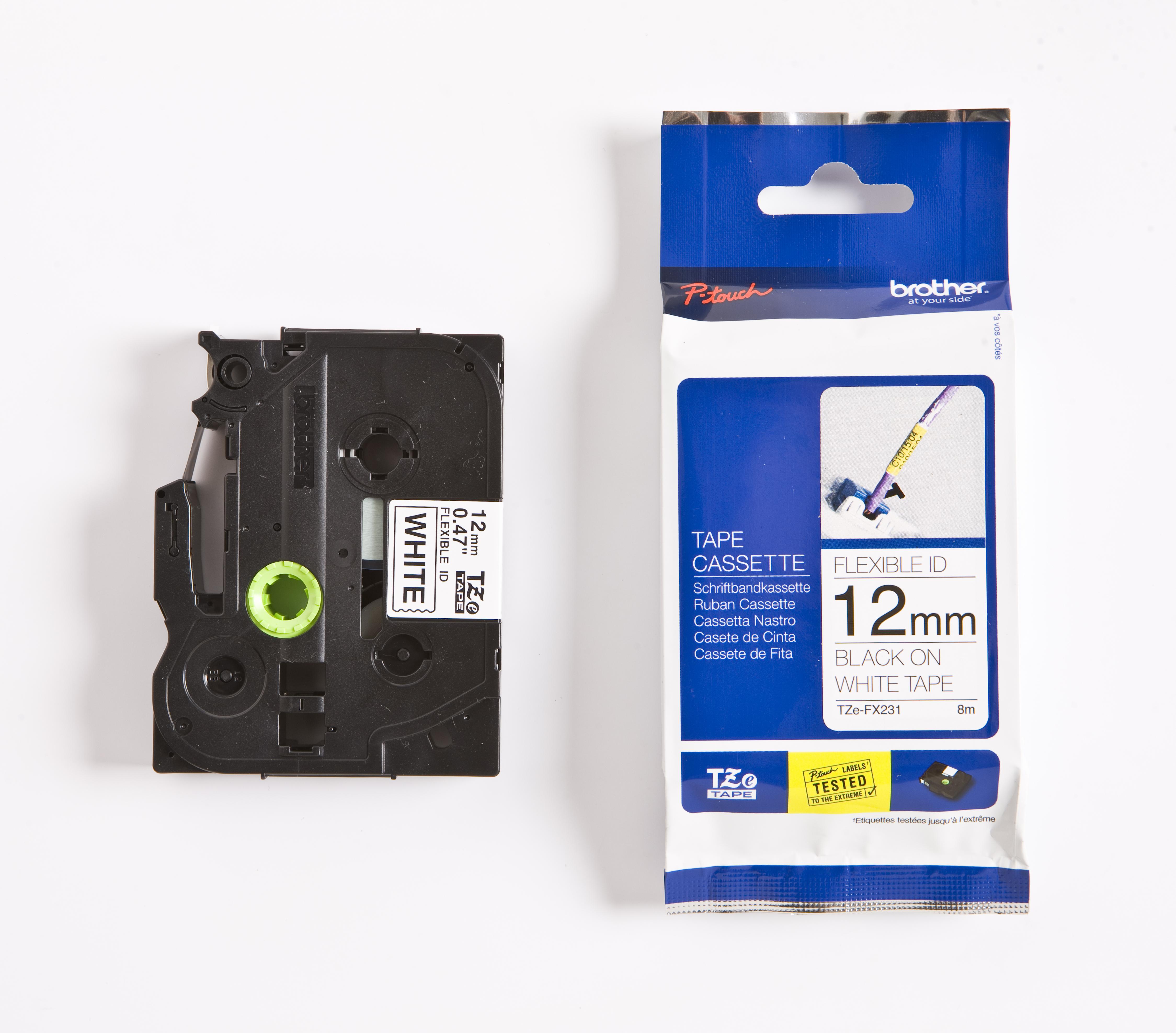 BROTHER P-Touch TZE-FX231 schwarz auf weiss 12mm