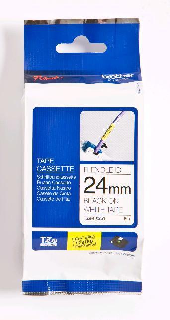 BROTHER P-Touch TZE-FX251 schwarz auf weiss 24mm