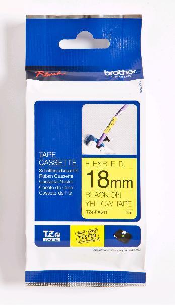 BROTHER P-Touch TZE-FX641 schwarz auf gelb 18mm