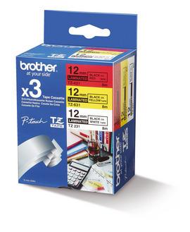 BROTHER TZE31M3 Schriftbandkassette 12mmx8m 3er Pack TZ231 weiss schwarz TZ431 rot schwarz TZ631 gelb schwarz laminiert