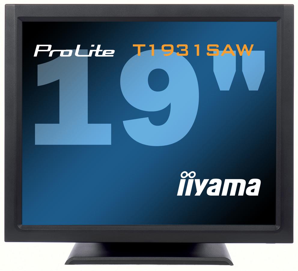IIYAMA ProLite T1931SAW 48cm 19Zoll SAW Touch 5ms DVI USB RS232 230cd/m  Lautsprecher schwarz