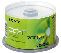CD-R 80MIN SONY 48X PK50 SPINDLE 700MO