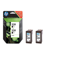 HP 339 Black Cartridge Two Pac ck Contains two HP 339 tricolo