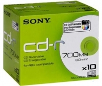 CD-R 80MIN/700MO SONY PK10 SURFACE IMPRIMABLE