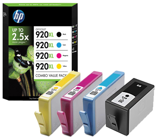 Inktpatroon HP 920XL originele high-capacity zwarte/cyaan/magenta/gele inktcartridges, 4-pack
