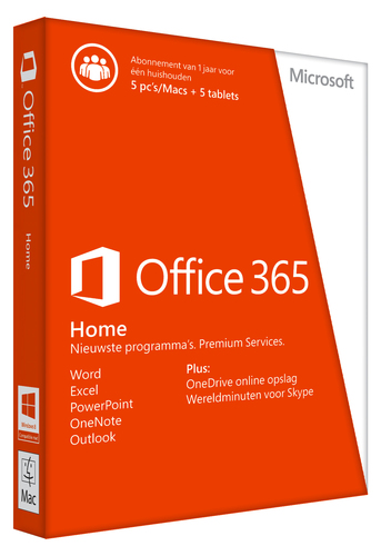 Desktop Applicatie Microsoft Office 365 Home – 5 pc's of Macs en 5 tablets