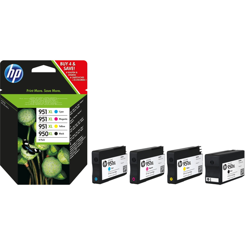 Inktpatroon HP 950XL originele zwarte/951XL cyaan/magenta/gele inktcartridges, 4-pack