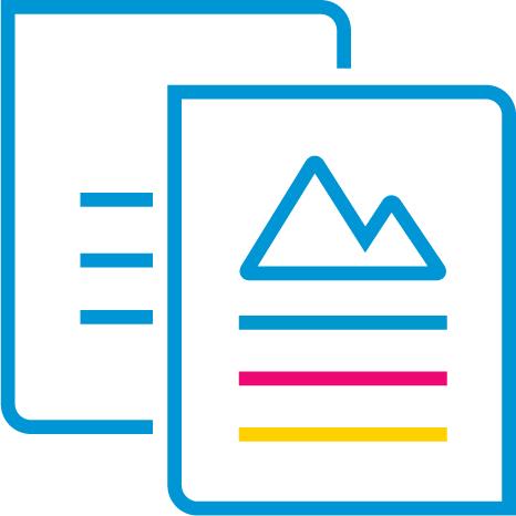 Siyah metin veya canlı renklerde iş kalitesinde belgeler