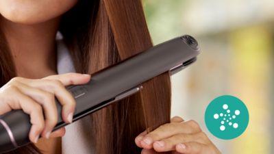 Parlak, elektriklenmeyen saçlar için iyonik bakım özelliğiyle daha fazla bakım