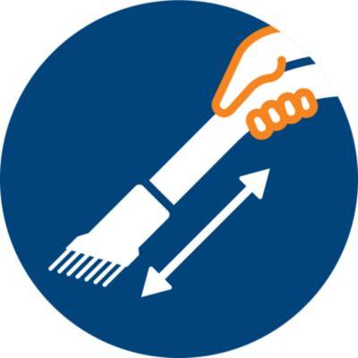Yumuşak fırça, kola entegre edilmiştir ve her zaman kullanıma hazır haldedir