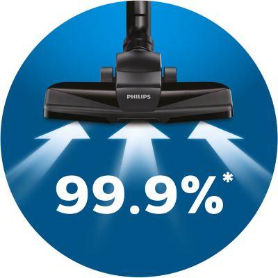 Yüksek performanslı temizlik için %99,9 toz toplama özellikli*