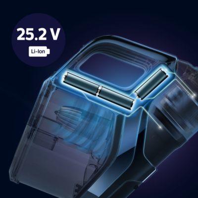 25 V Lityum iyon pillerle 65 dakika kullanım süresi