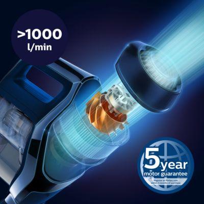 Güçlü toz çekişi için yüksek hava akışı yaratan PowerBlade dijital motor
