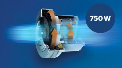 Güçlü emiş gücü sunan 750 W motor
