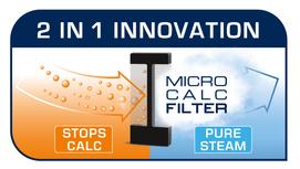 Özel 2'si 1 arada Micro-Calc Filtre : çamaşırlardaki kireç lekelerine son vermek için %100 filtrelenmiş buhar gönderimi*
