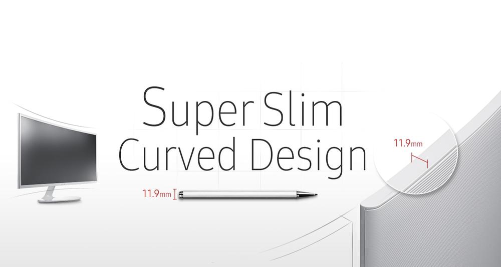 Süper ince kavisli ekran ve şık, modern tasarım