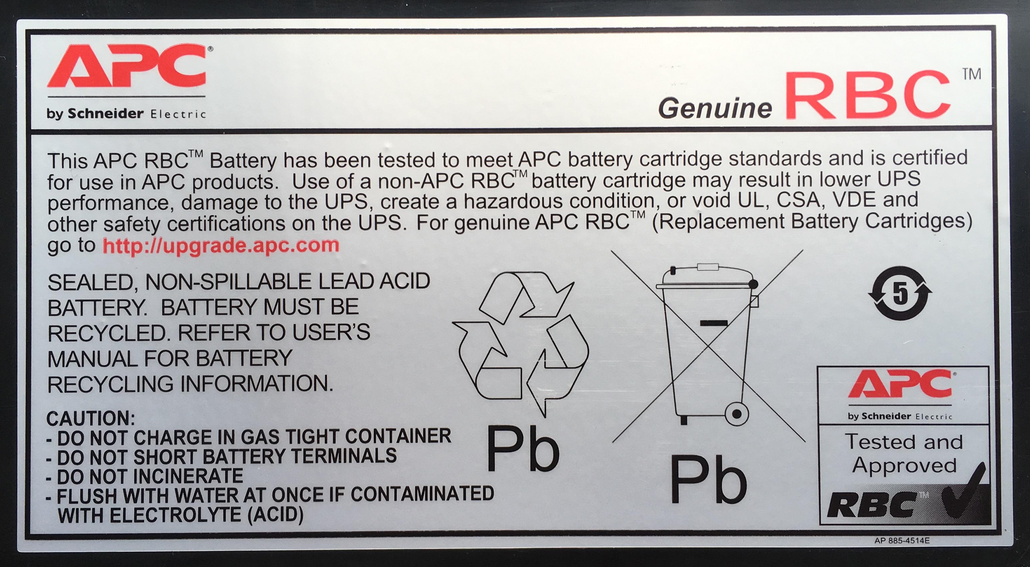 APC Battery Cartridge Replacement #17 Acido piombo (VRLA) batteria ricaricabile