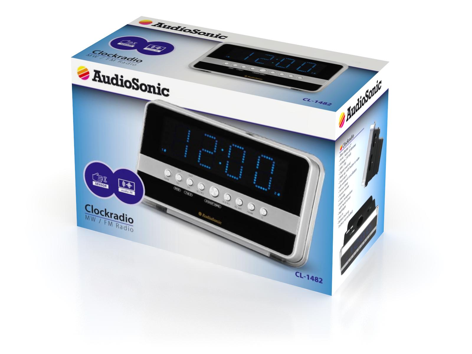 AudioSonic CL-1482 Orologio Analogico Nero, Argento radio