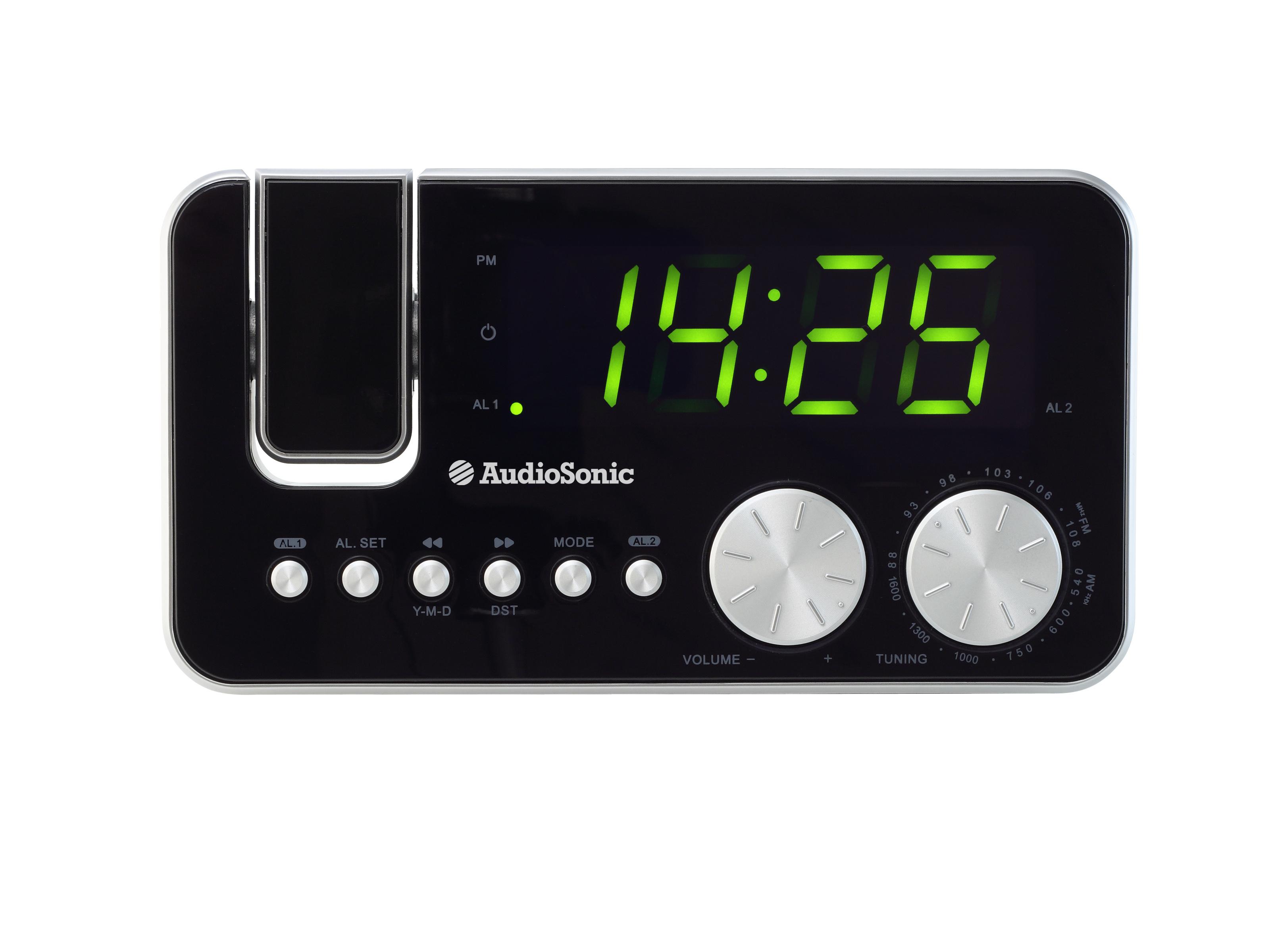 AudioSonic CL-1484 Orologio Analogico Nero, Argento radio